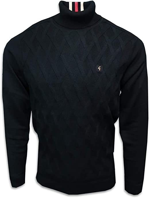 Gabicci Mens Coaster 60s Cable Knit Roll Neck Jumper
