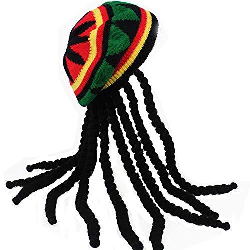 HZYFP Dreadlocks Wig Hat Reggae Jamaican Style Rasta Hat Crocheted Knitted Beret Cap Long Black Hair Costume -