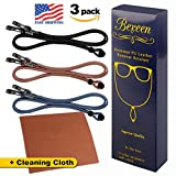Image of Eyeglasses Chains PREMIUM ECO LEATHER [Pack of 3 Cords + Cleaning Cloth] Eyeglass Chain | Cords| Holder | Retainer | Glasses Strap | Rope Lanyard Glasses Strings Necklace Holder For Car Glasses Hanger