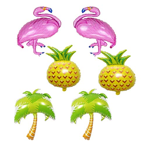 LQQDD Beach Summer Tropical Party Theme Flamingo and Pineapple Balloons Palm Tree Mylar Balloon for Flamingo and Pineapple Party Decorations Luau Party Hawaiian Flamingo Party Supplies (Set of 6)