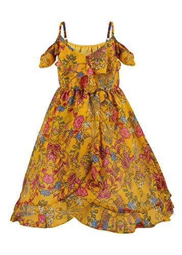JerrisApparel Girls' Summer Spaghetti Strap Off Shoulder Flowers Boho Maxi Dress (4-5 years/Tag Size120, (Straps Girls Dress)