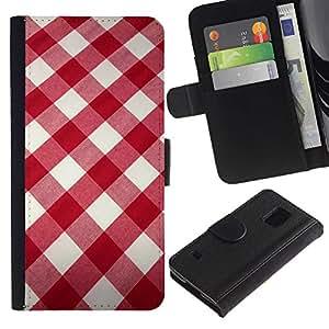 WINCASE (No Para S5 Mini) Cuadro Funda Voltear Cuero Ranura Tarjetas TPU Carcasas Protectora Cover Case Para Samsung Galaxy S5 V SM-G900 - patrón floral minimalista negro