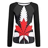 Women's 3D Print Canada Flag Raglan Long Sleeve Tops Sweatshirt T-Shirt