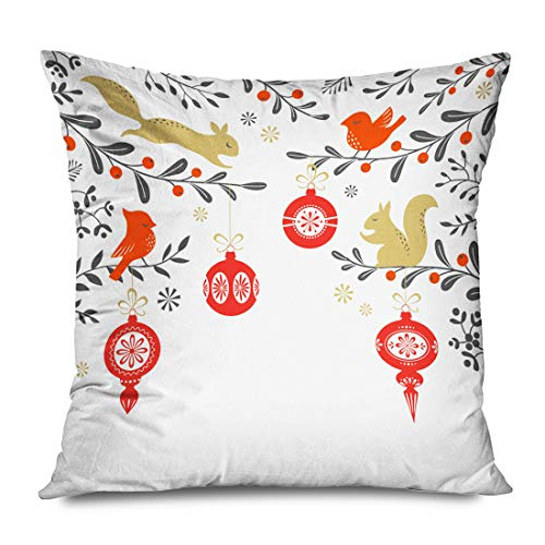 Onete Throw Pillow Cover Square 16x16 Inches Typography Xmas Christmas Floral Woodland Elegant Year Snowflake Mistletoe Birds Squirrel Holidays Decorative Cushion Case Home Decor Zippered Pillowcase (Bird Woodland Squirrel Bath)