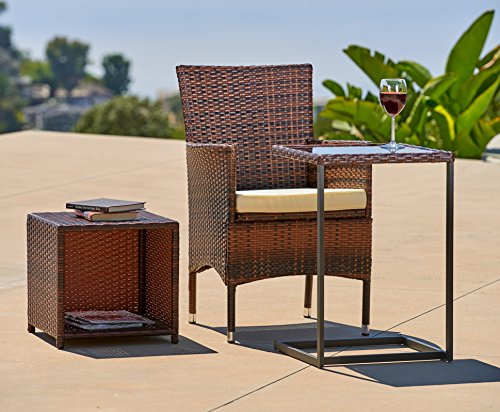 Suncrown Outdoor Furniture 2 in 1 Wicker C-Shaped Tray Table & Side Table with Storage | Multipurpose Nesting Set, All-Weather Resistant Wicker, Tempered Glass Top | Porch, Patio, Backyard, or Pool (Cheap Patio Sets)