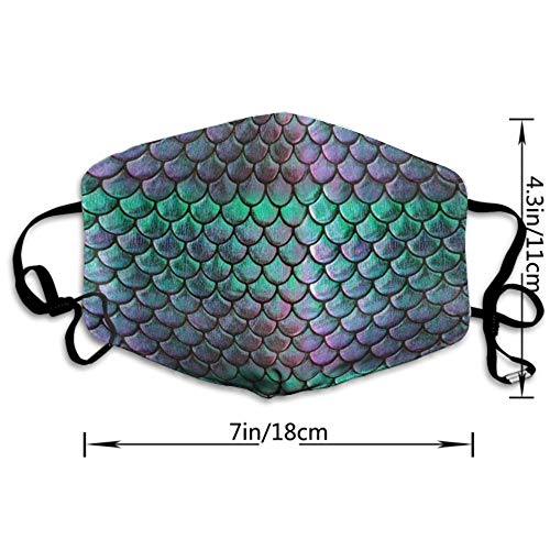 AllCOVER Green Mermaid Scale Style Anti Dust Face Mouth Cover Mask Respirator - Dustproof Anti-Washable - Reusable Masks Respirator Windproof Mask