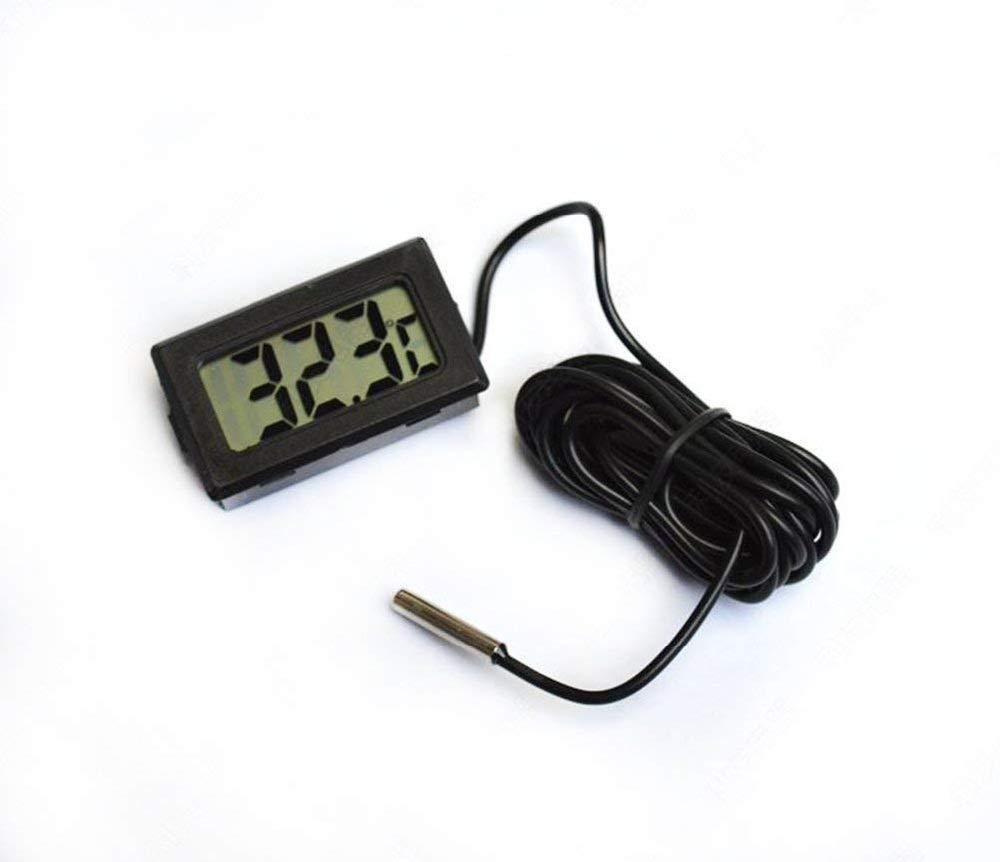Eidyer Termometro digitale LCD Termometro con sonda esterna impermeabile per frigorifero Congelatore 4.8cm /× 2.8cm /× 1.5cm Acquario Frigorifero Termometro portatile FishTank cavo: 100 cm