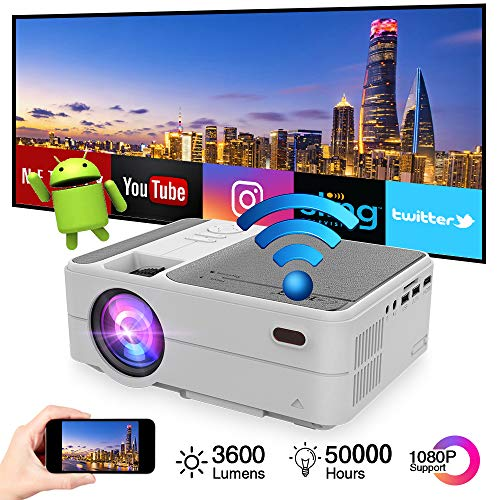 Mini Portable Pico Projector 3200 lumens Android 6.0 WiFi Bluetooth Full HD 1080p Video Projector LCD LED Smart Proyector with Airplay Miracast Wireless Smart Phone Mirror Home Cinema Outdoor Movie
