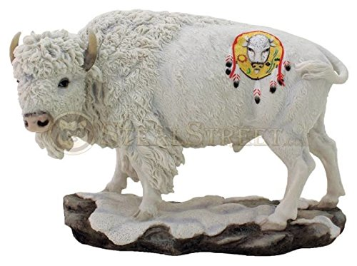 Native American Sacred White Buffalo Statue Sculpture Bison Shield Drum by Top Land Trading