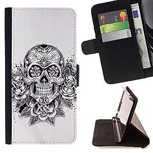 Momo Phone Case / Flip Funda de Cuero Case Cover - Arte del tatuaje del motorista Papel floral de la tinta - Samsung Galaxy S4 IV I9500