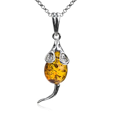 Honey Amber Sterling Silver Mouse Pendant Rolo Chain 46 cm 7jHhlUTKb