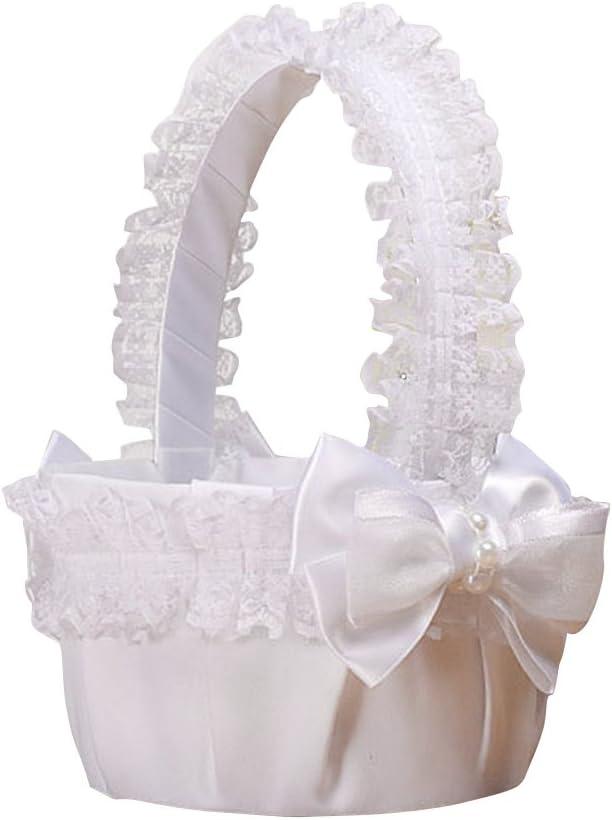 BESTOYARD Cesta de la Flor de la Boda de la Cesta del Bowknot de la Novia de la Cesta para la decoración Nupcial de la Fiesta de la Ceremonia