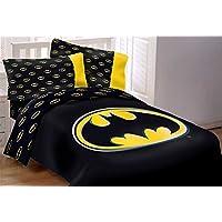 Batman Emblem - Juego de edredón de tamaño completo, súper suave, de lujo, reversible, de 5 piezas, de JD Home