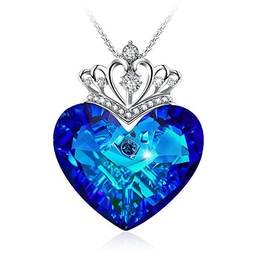 GEORGE · SMITH Elegant Queen Crown Pendant Blue Heart Neckomen Crystals from Swarovskilace, Heart of Ocean Jewelry for Women Christmas Day Gifts (Blue Crown)