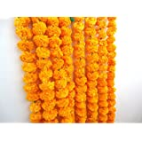 Craffair artificial marigold flower strings orange color, party backdrop, party decoration, Indian theme party decor…