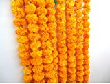 Craffair artificial marigold flower strings orange color, party backdrop, party decoration, Indian theme party decor, photo prop, wedding decorations, housewarming decoration, 5 strings of 5 feet long