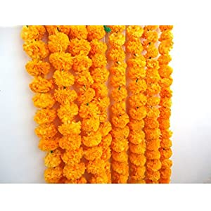 Craffair artificial marigold flower strings orange color, party backdrop, party decoration, Indian theme party decor, photo prop, wedding decorations, housewarming decoration, 5 strings of 5 feet long 74