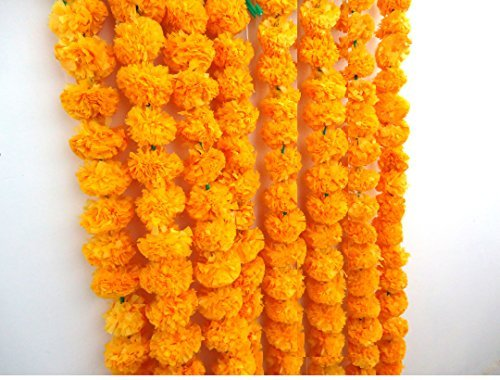 - Craffair artificial marigold flower strings orange color, party backdrop, party decoration, Indian theme party decor, photo prop, wedding decorations, housewarming decoration, 5 strings of 5 feet long