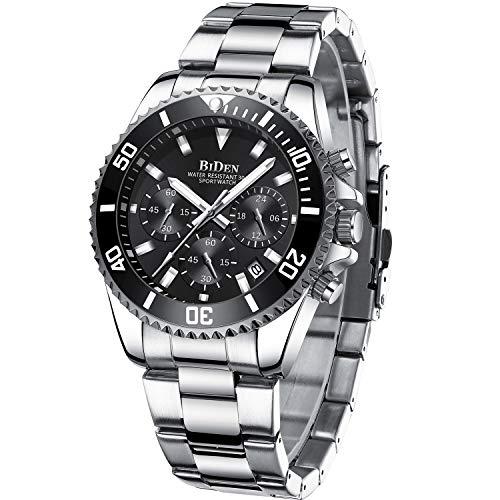 Herren Uhr Chronographen Analog Quarz wasserdichte Edelstahl Armbanduhr Herren Großes Leuchtende Business Datum Uhren