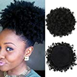 High Puff Afro Ponytail Drawstring Short Afro Kinky Curly Pony Tail Clip in on Synthetic Curly Hair Bun Made of Kanekalon Fiber Puff Ponytail Wrap Updo Hair Extensions with Clips (Black)
