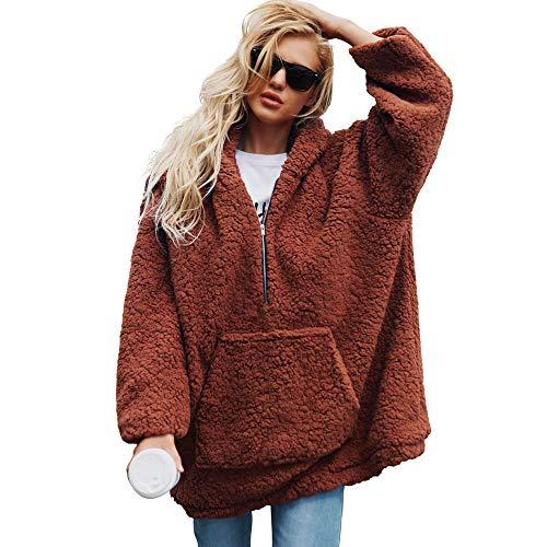 DBHAWK_Tops Clearance!DBHAWK Womens Winter Warm Faux Wool Pullover Coat Hooded Zipper Parka Sweatshirt Outerwear -
