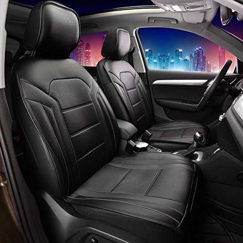 (FH GROUP PU208102 Futuristic Front Pair Seat Cushions (Leatherette w. Non Slip Backing), Solid Black Color- Fit Most Car, Truck, Suv, or Van)