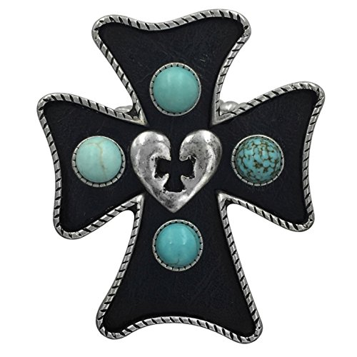 Large Cross Western Look Statement Big Stretch Cocktail Ring (Black with Imitation Turquoise Dots) - Multi Color Cross Ring