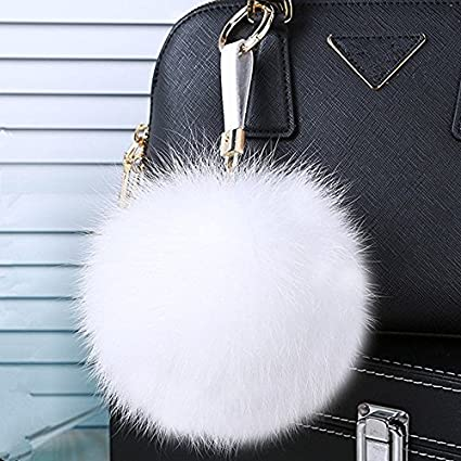Amazon.com  Large Faux Fox Fur Pom Pom Keychain Bag Charm Gold Ring Fluffy  Fur Ball (White)  Office Products 290aed01b374