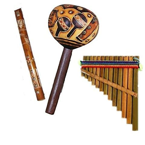 Andes Musical Three Pack Flute Maraca Pan Flute Whistle Hand Made Peru Andean *637,4,630* - Peruvian Carved Gourds