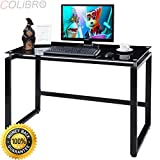 COLIBROX--Computer Desk Glass Top Metal Frame PC Laptop Table Study Writing Workstation. glass and table laptop desk. best amazon computer desk pc laptop table. workstation computer desk amazon.