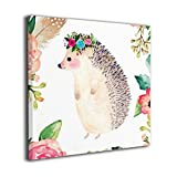 Bold And Brash Watercolor Flower Hedgehog Painting Canvas Wall Art Squidward Paintings Abstract Modern Style For Living Room Bedroom Bathroom