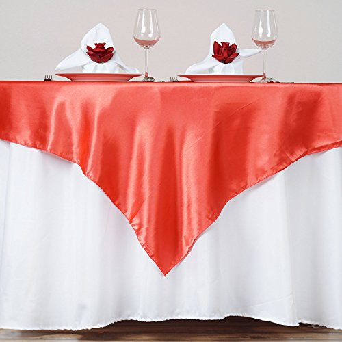 BalsaCircle 5 pcs 72x72 inch Coral Square Tablecloth Satin Table Overlays Linens for Wedding Table Cloth Party Reception Events Kitchen Dining