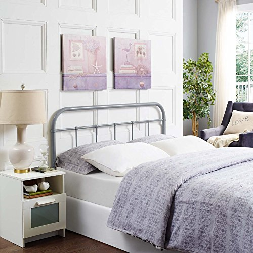 Modway Serena Rustic Farmhouse Style Steel Metal Headboard in Gray, Queen Size