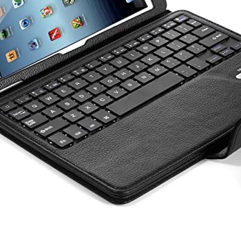 Ipad Air Ipad Air 2 Keyboard + Leather Cover, Poweradd Bluetooth Ipad Keyboard Cover W Removable Wireless Keyboard, Built-in Multi-angle Stand For Apple Ipad Air 12, Ipad 56 [Ios 10+ Support] 9