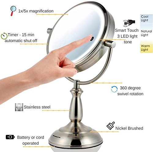 Ovente 7.5'' Lighted Tabletop Mirror, SmartTouch Cool, Warm, Daylight LED Tones (1X5X, Brushed) by Ovente (Image #2)