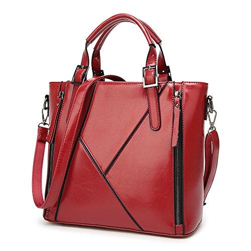 SJMMBB Dama De La Moda Bolso Bolso De Mano De Cuero De La PU Skew,Brown,31X26X10Cm Rojo