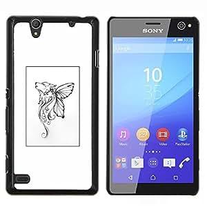 YiPhone /// Prima de resorte delgada de la cubierta del caso de Shell Armor - Mariposa mítico cartel blanco del arte - Sony Xperia C4