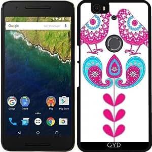 Funda para Google Nexus 6P (Huawei) - Pájaros Bonitos De Encaje De La Vendimia by Blingiton