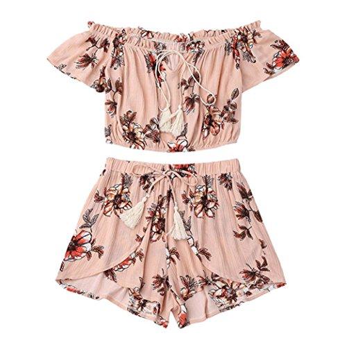 CUCUHAM Casual Two Piece Set Women Off Shoulder Printed Beachwear Crop Tops Set(Small,Pink) ()