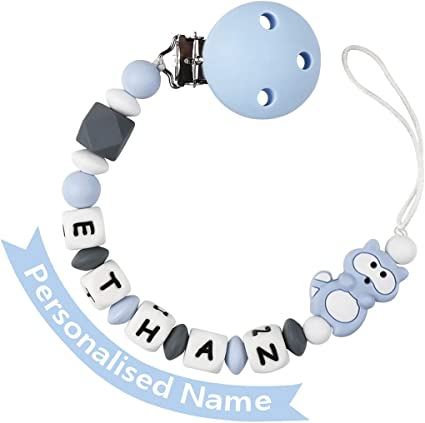 Gift Set Personalised Dummy Clip And Silicon Pacifier Holder Teething BPA Free