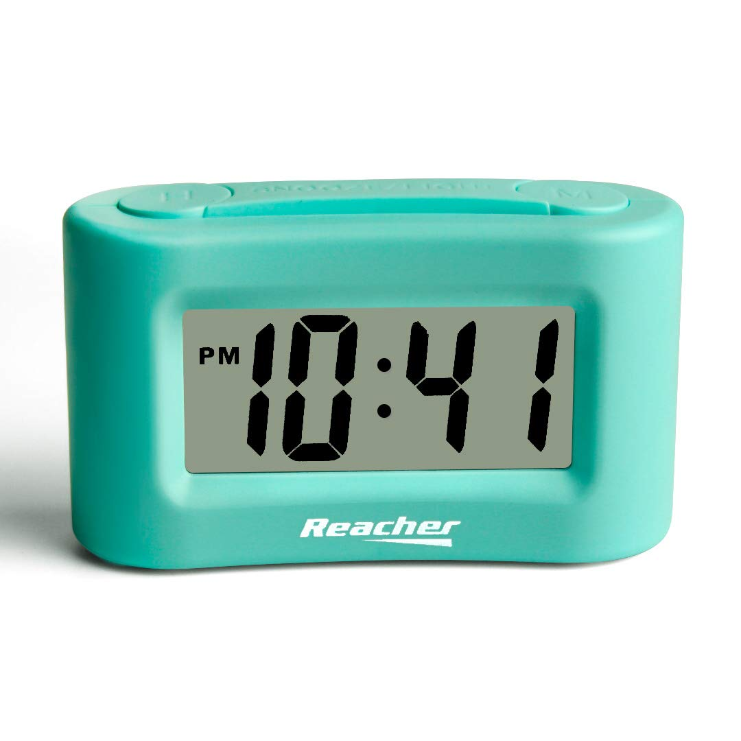 Reacher Mini Battery Operated Alarm Clock - Simple Basic Operation, Snooze, Backlight, Display ON/Off, Perfect for Travel, Desk, Shelf, Bedside, Mint Green