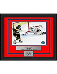"""Washington Capitals 2018 Stanley Cup Finals Braden Holtby The Save Engraved Autograph 8"""" x 10"""" Framed and Matted Hockey Photo"""