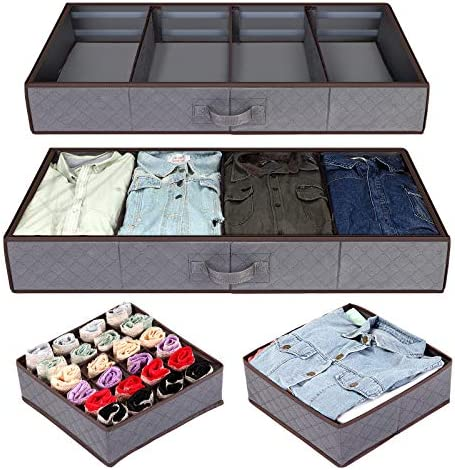 Anyoneer Set of four ,Under-Bed Storage Organizer, Drawer Organizer, Extra Large, Adjustable Dividers Storage Bag with Durable Fabric, Reinforced Handle, Clear Window for Clothing, Shoes, Blankets, Clothes, Sweaters, Toys, (Gray)