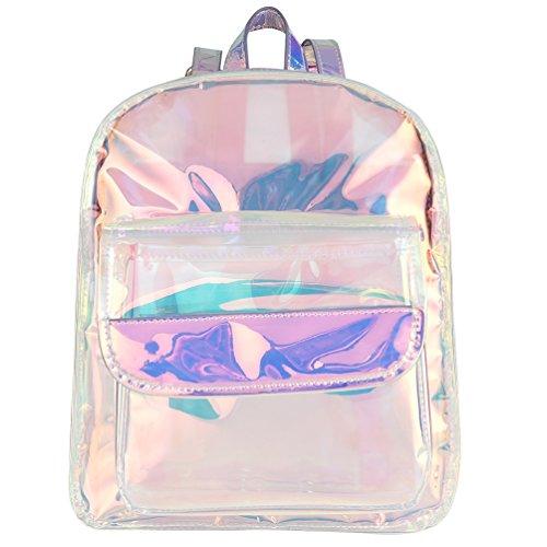 Vbiger Transparent Holographic Backpack School Bookbag Waterproof Travel Daypack for Women