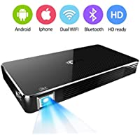 Projector,Video Home Pico DLP Projector,Support 1080P Full HD WIFI Wireless Connectivity, Portable Mini Projector Max Throw 120 inch Screen,for Home Theater Cinema Business Presentation Game Movie