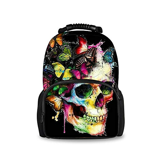 REFLEXS Backpack, Travel Water Resistant School Backpack for Women Men, Mexican Skulls Colorful Butterfly