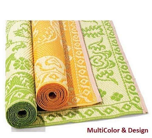 Ivaan Plastic Floor Mat (Chatai) -Random Color & Design (4X6 FT)