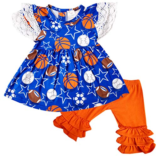 - Boutique Baby Girls Summer Game Day Baseball Football Soccer Capri Outfit Set 0-3M/4XS