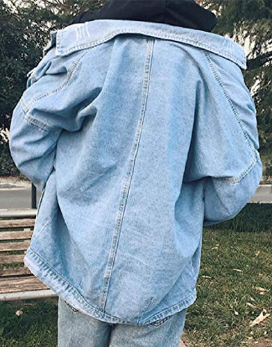Loose Fit Mens Retrò Tasca Jeans Gocgt Della Giacca Abbassare I Lavaggio Colletto Casuale Blu XpHIX