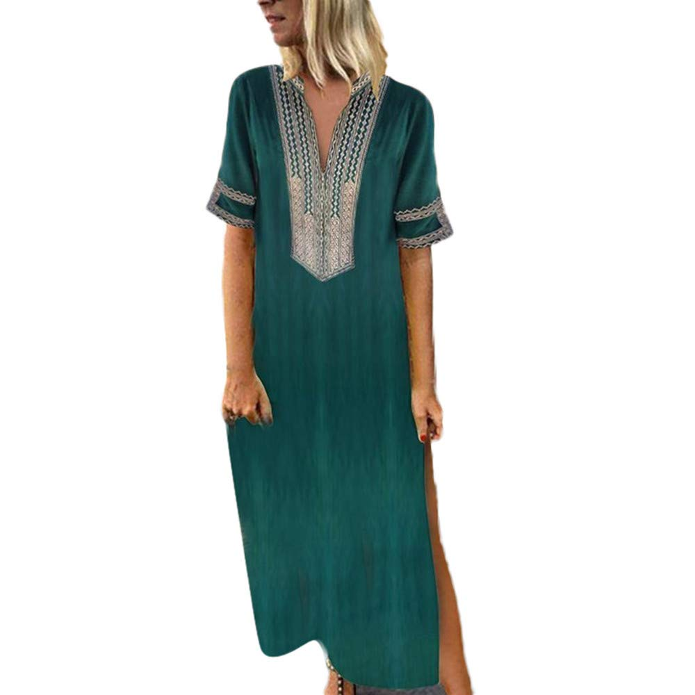 Shusuen Women Bohemian Casual Loose Vintage Printed Ethnic Style Summer Shift Dress Short Sleeve Split Maxi Tunics Green by Shusuen_Clothes